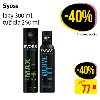 Syoss - laky 300 ml, tužidla 250 ml