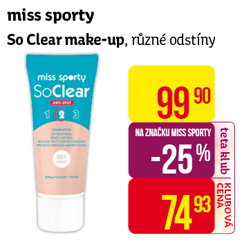 miss sporty So Clear make-up, různé odstíny