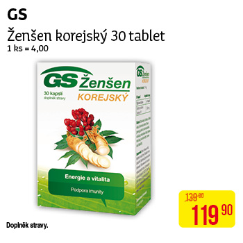GS - Ženšen korejský, 30 tablet