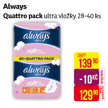 Always - Quattro pack, ultra vložky 28-40ks