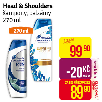 Head & Shoulders šampony, balzámy 270 ml