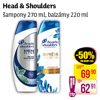 Head & Shoulders - šampony 270 ml, balzámy 220 ml