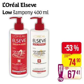 L'Oréal Elseve - Low šampony (400 ml)