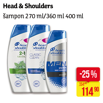Head & Shoulders - Šampon 270ml/360ml, 400ml